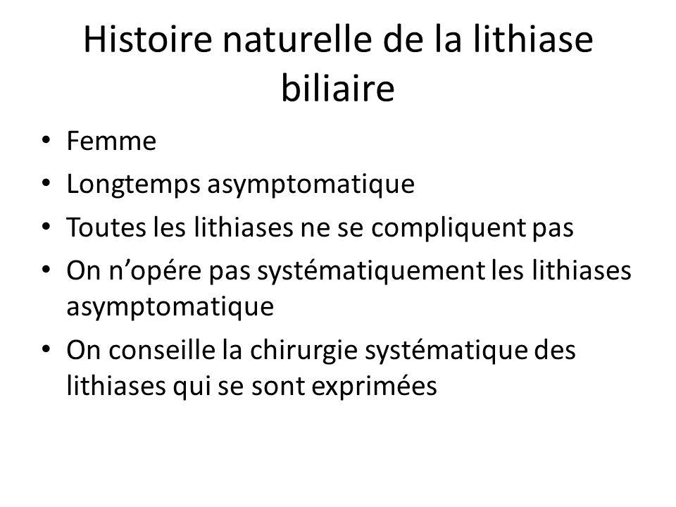 Histoire naturelle de la lithiase biliaire