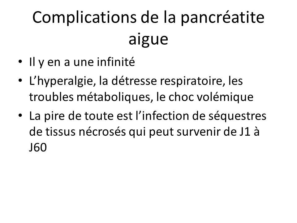 Complications de la pancréatite aigue