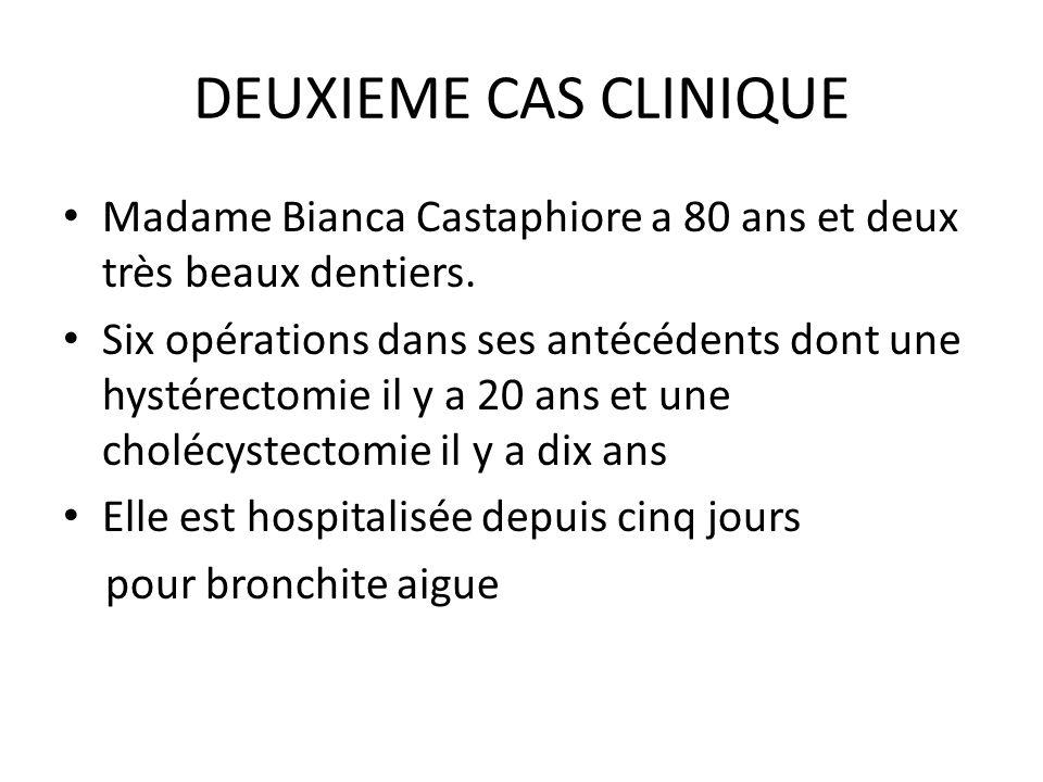 DEUXIEME CAS CLINIQUE Madame Bianca Castaphiore a 80 ans et deux très beaux dentiers.