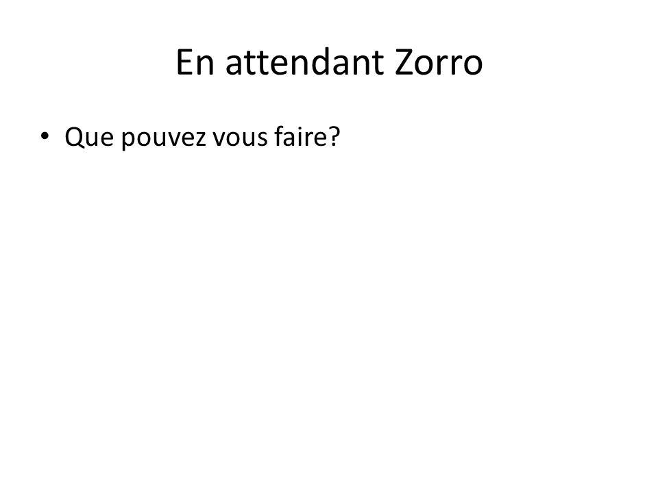 En attendant Zorro Que pouvez vous faire