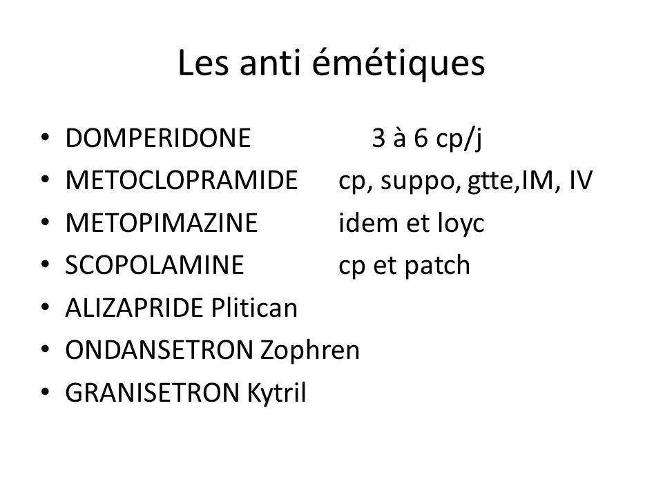 Les anti émétiques DOMPERIDONE 3 à 6 cp/j