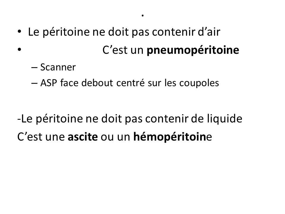 . Le péritoine ne doit pas contenir d'air C'est un pneumopéritoine