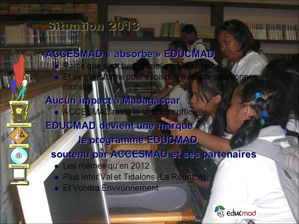 Situation 2013 ACCESMAD « absorbe » EDUCMAD Aucun impact à Madagascar