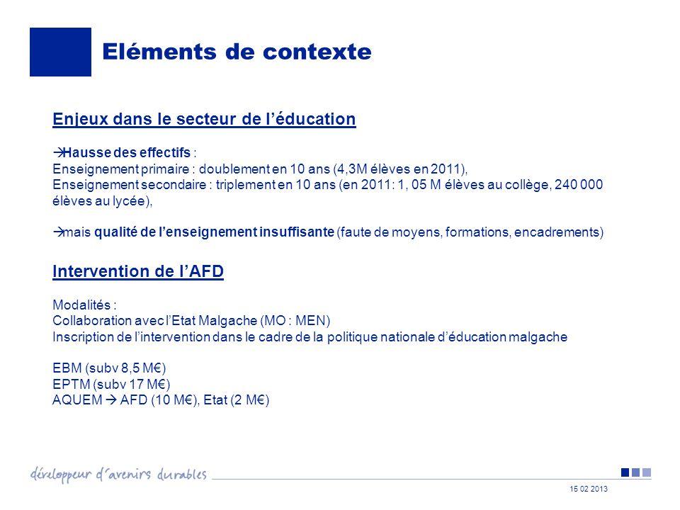 Eléments de contexte Enjeux dans le secteur de l'éducation