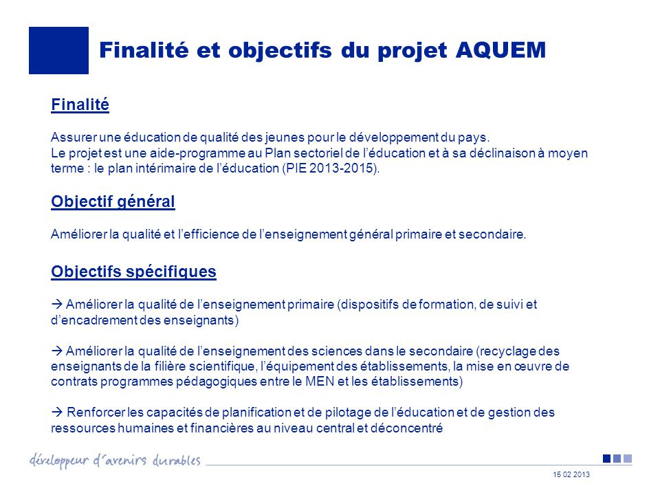 Finalité et objectifs du projet AQUEM