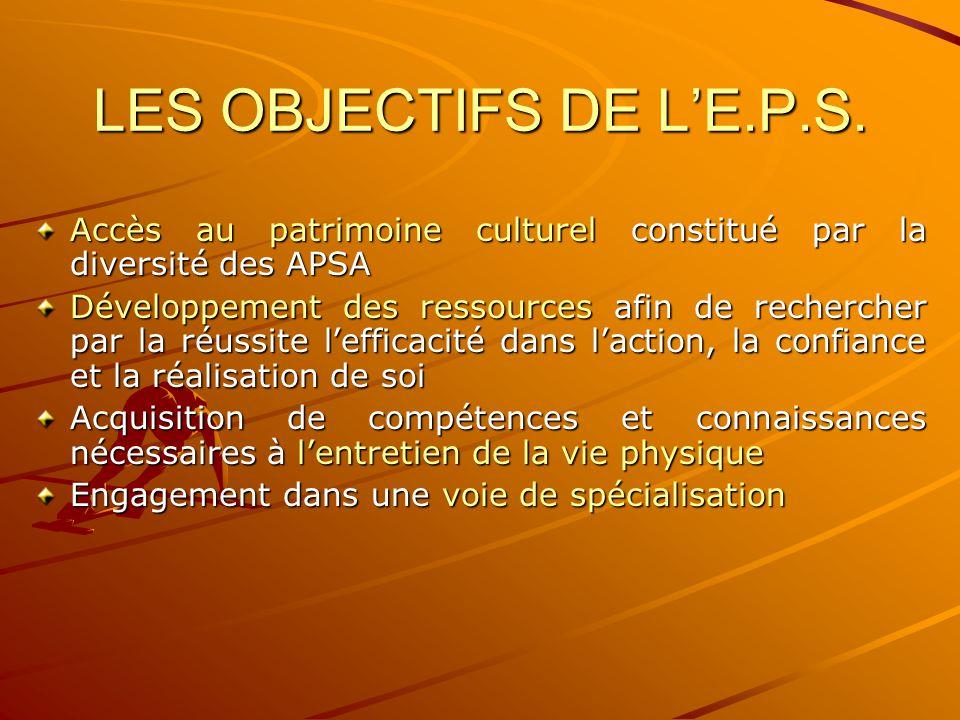LES OBJECTIFS DE L'E.P.S. Accès au patrimoine culturel constitué par la diversité des APSA.