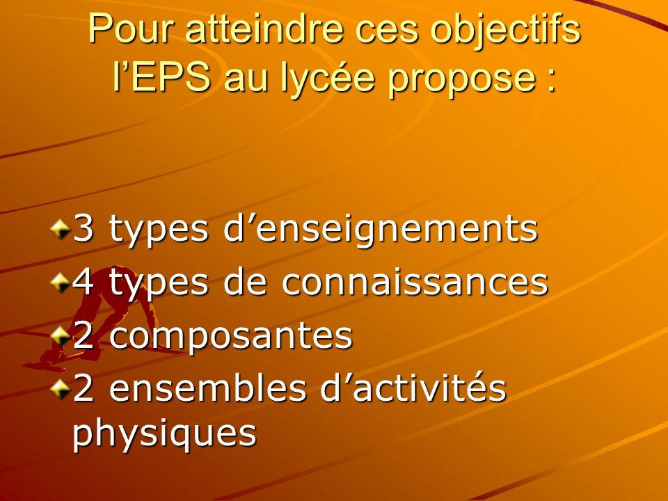 Pour atteindre ces objectifs l'EPS au lycée propose :
