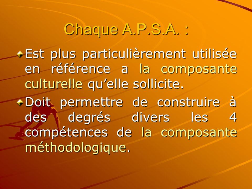 Chaque A.P.S.A. : Est plus particulièrement utilisée en référence a la composante culturelle qu'elle sollicite.