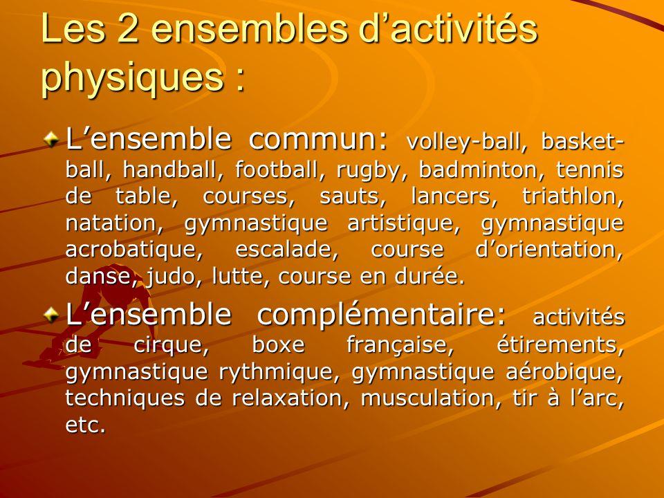 Les 2 ensembles d'activités physiques :