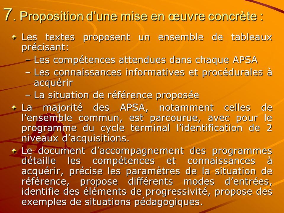 7. Proposition d'une mise en œuvre concrète :