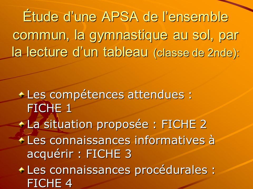 Étude d'une APSA de l'ensemble commun, la gymnastique au sol, par la lecture d'un tableau (classe de 2nde):