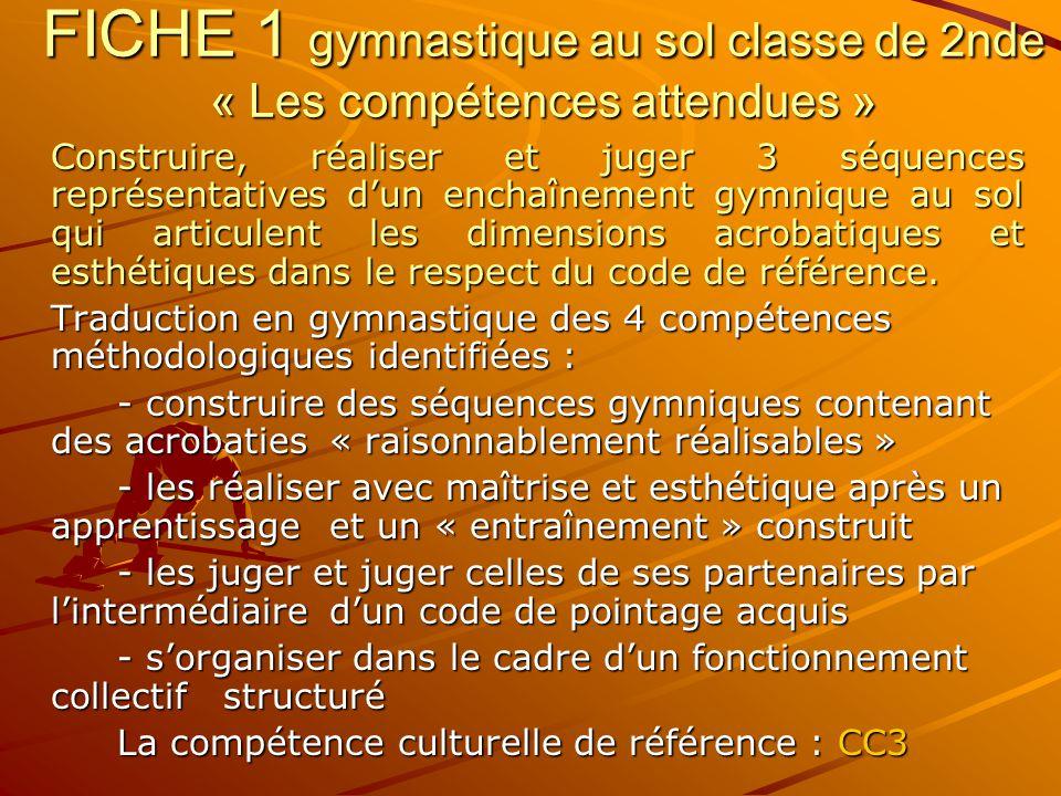 FICHE 1 gymnastique au sol classe de 2nde « Les compétences attendues »