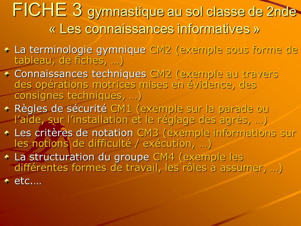 FICHE 3 gymnastique au sol classe de 2nde « Les connaissances informatives »