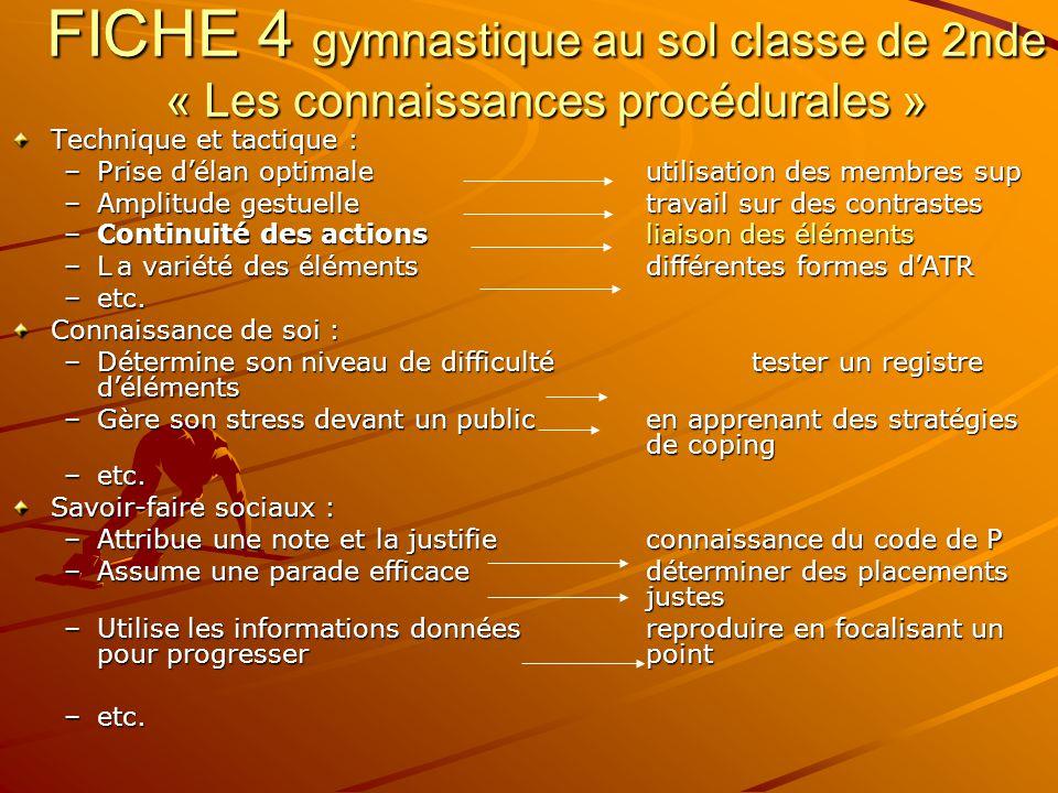 FICHE 4 gymnastique au sol classe de 2nde « Les connaissances procédurales »
