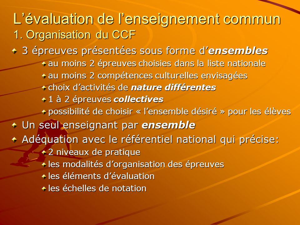 L'évaluation de l'enseignement commun 1. Organisation du CCF