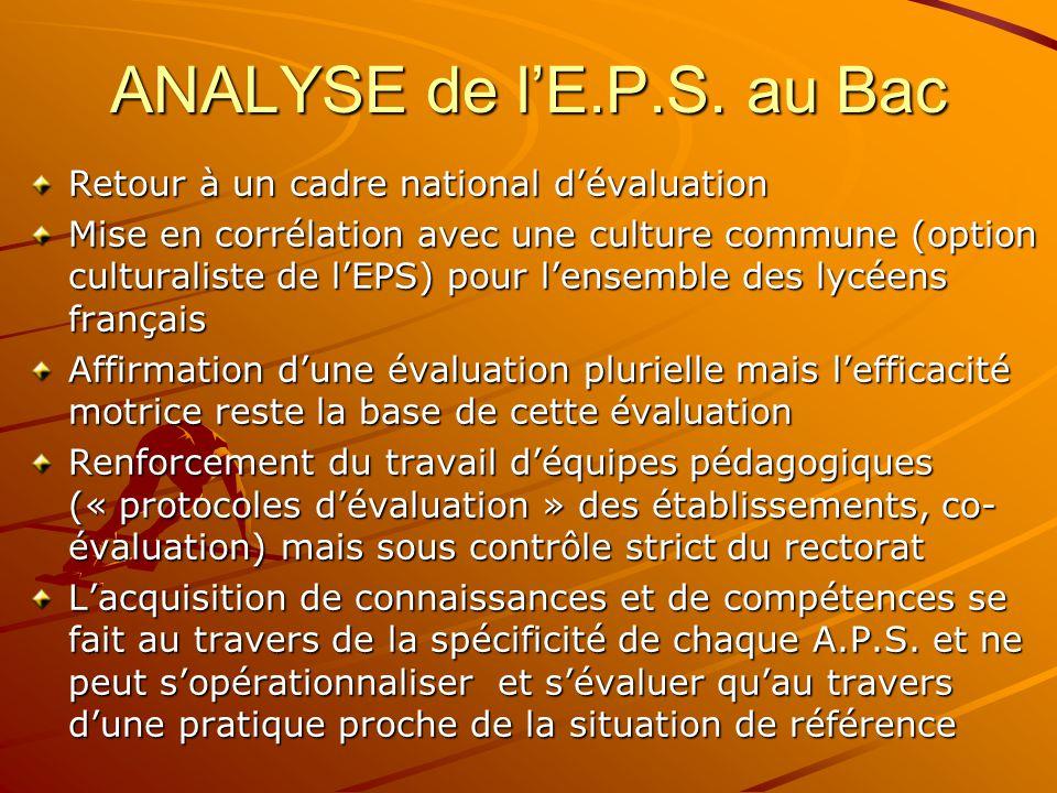 ANALYSE de l'E.P.S. au Bac Retour à un cadre national d'évaluation
