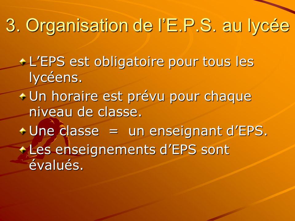 3. Organisation de l'E.P.S. au lycée