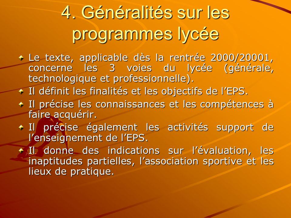 4. Généralités sur les programmes lycée