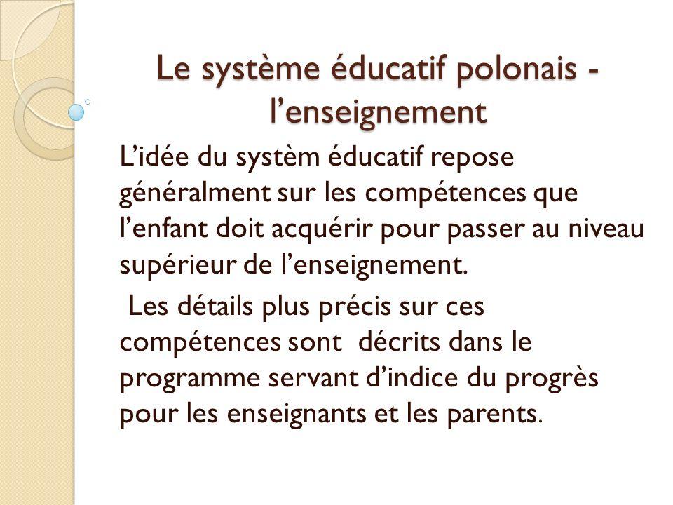 Le système éducatif polonais - l'enseignement