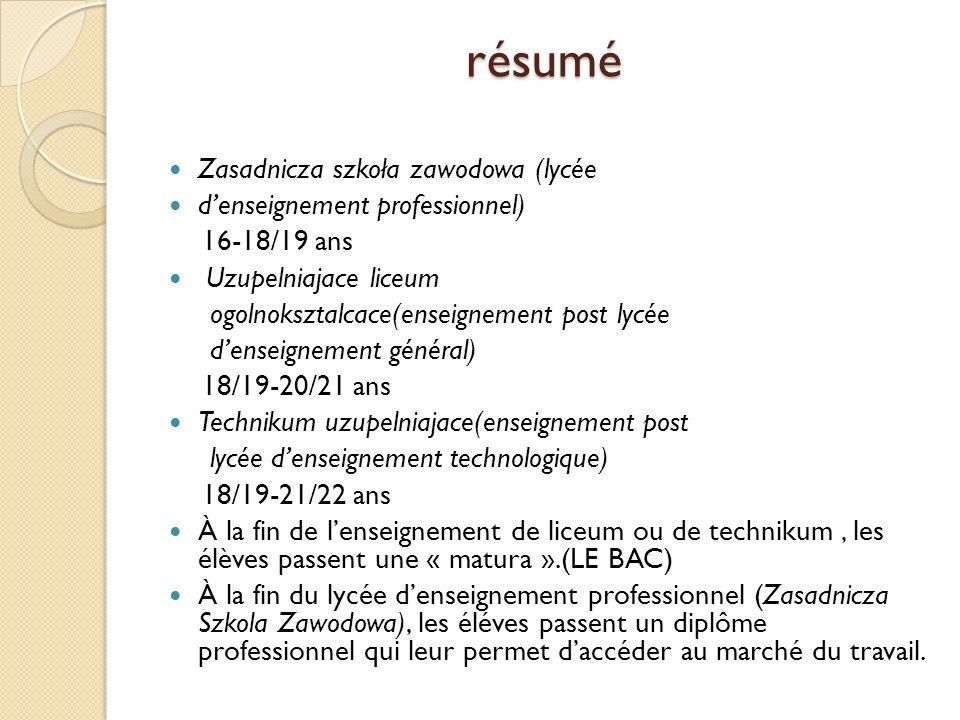 résumé Zasadnicza szkoła zawodowa (lycée d'enseignement professionnel)