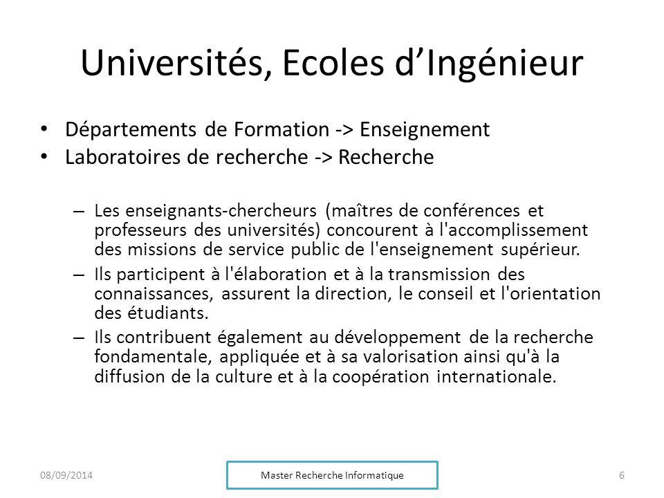 Universités, Ecoles d'Ingénieur