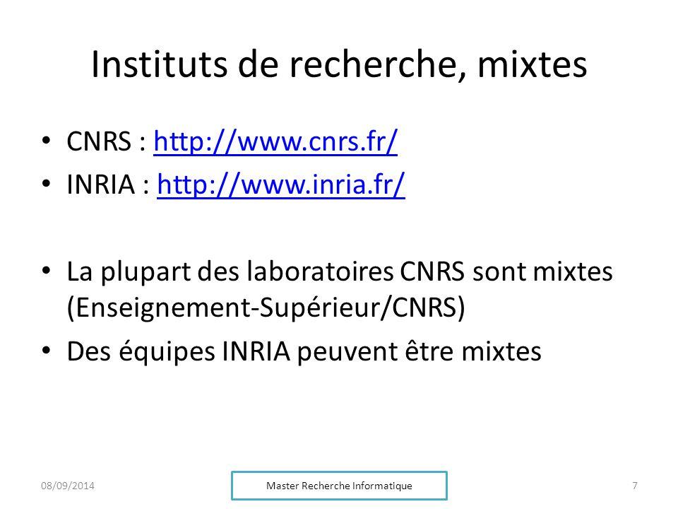 Instituts de recherche, mixtes