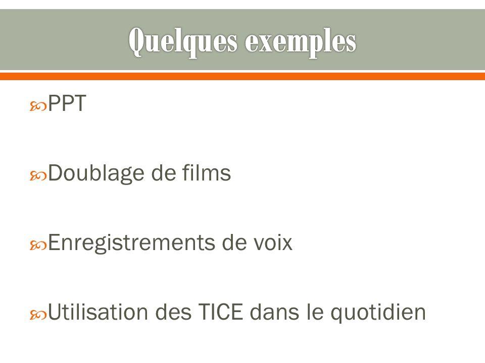 Quelques exemples PPT Doublage de films Enregistrements de voix