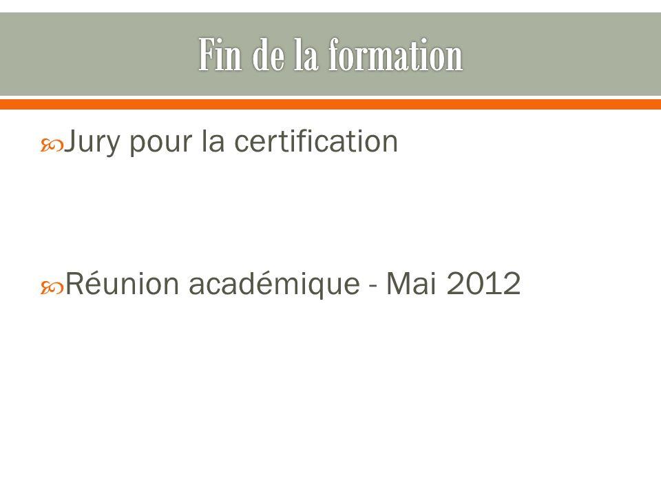 Fin de la formation Jury pour la certification