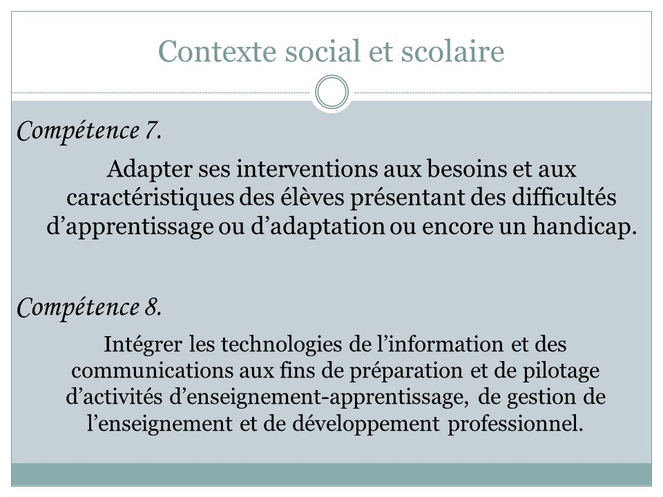 Contexte social et scolaire