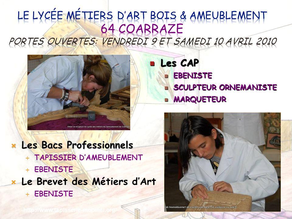 Le Lycée Métiers d'Art Bois & Ameublement 64 COARRAZE Portes ouvertes: Vendredi 9 et samedi 10 avril 2010