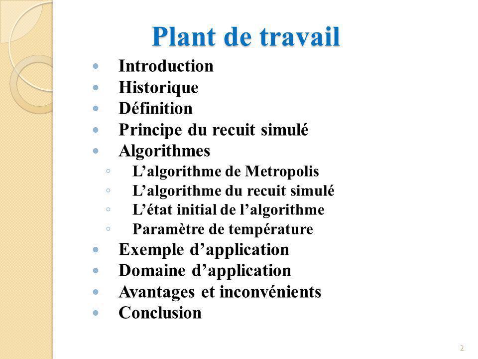 Plant de travail Introduction Historique Définition