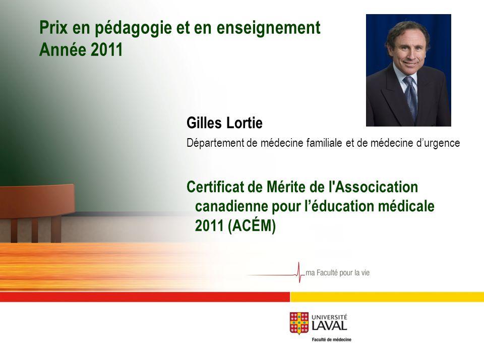 Prix en pédagogie et en enseignement Année 2011