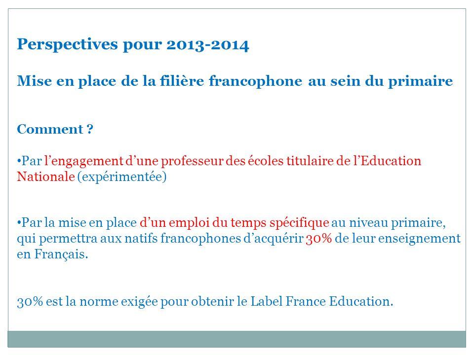 Perspectives pour 2013-2014 Mise en place de la filière francophone au sein du primaire. Comment