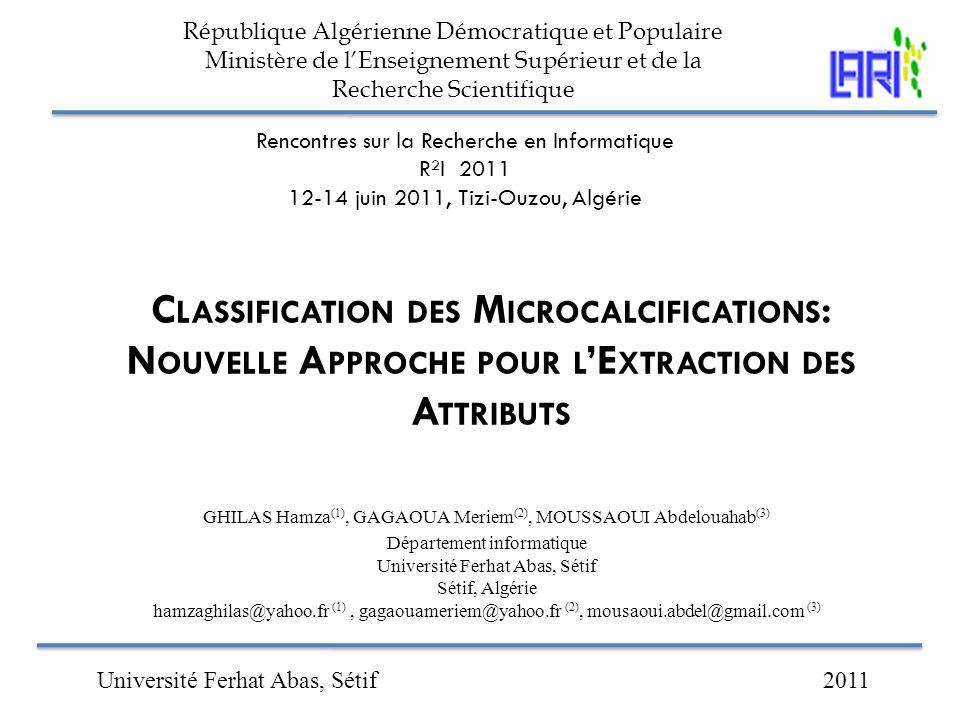 République Algérienne Démocratique et Populaire Ministère de l'Enseignement Supérieur et de la Recherche Scientifique