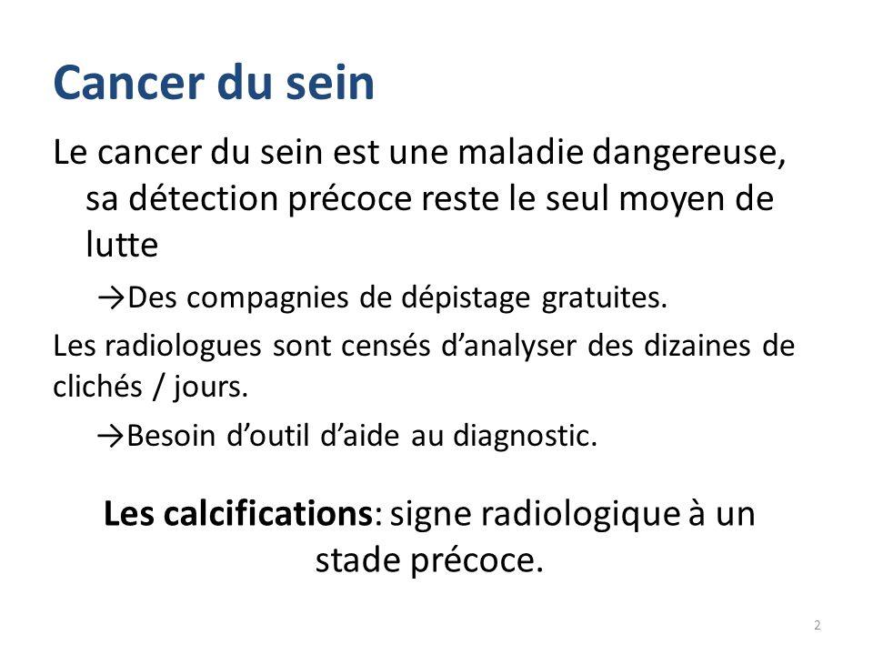 Les calcifications: signe radiologique à un stade précoce.