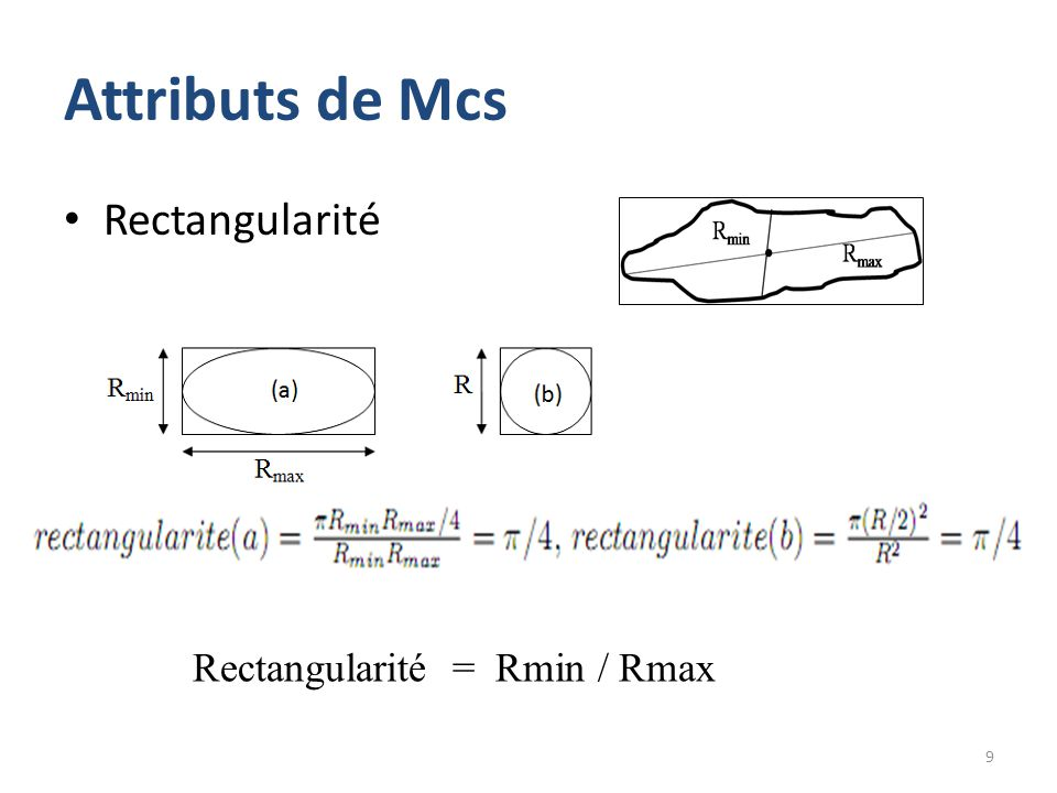 Attributs de Mcs Rectangularité Rectangularité = Rmin / Rmax