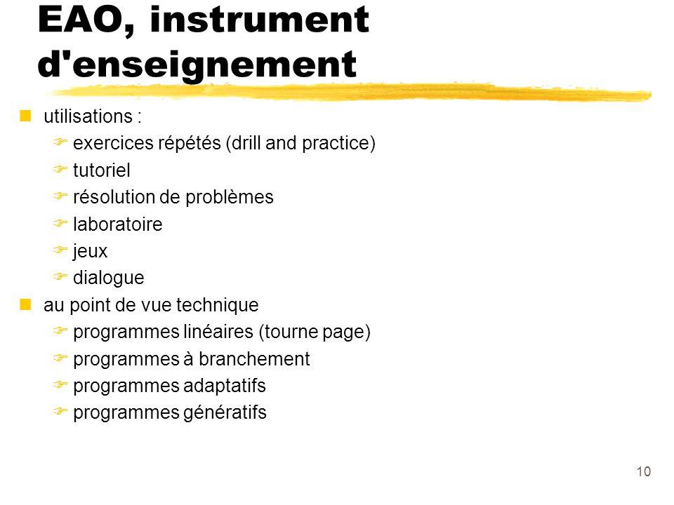 EAO, instrument d enseignement