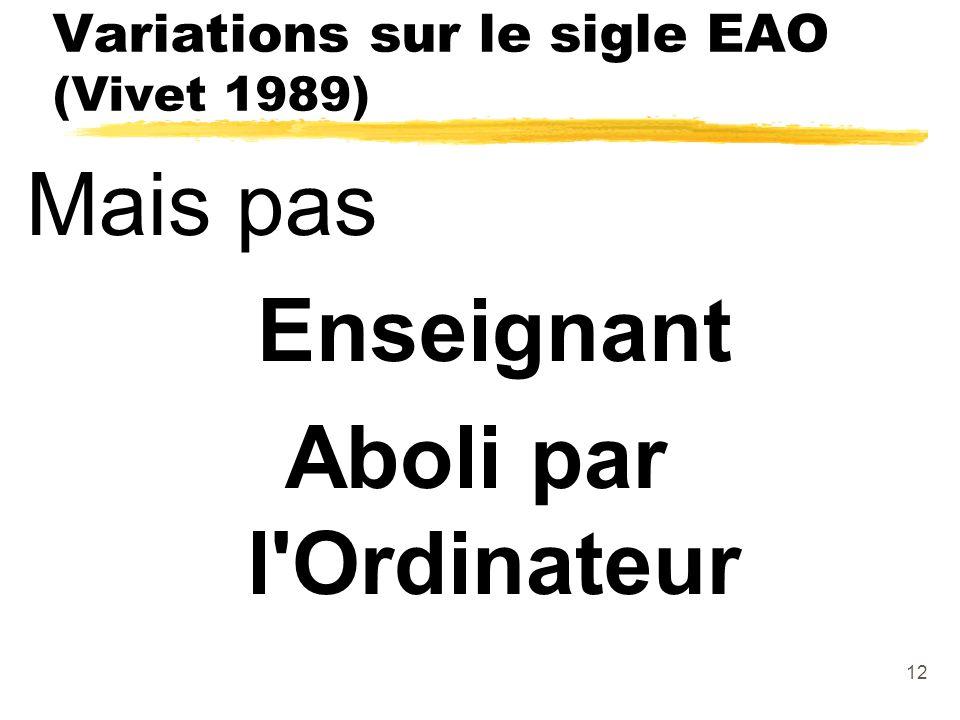 Variations sur le sigle EAO (Vivet 1989)