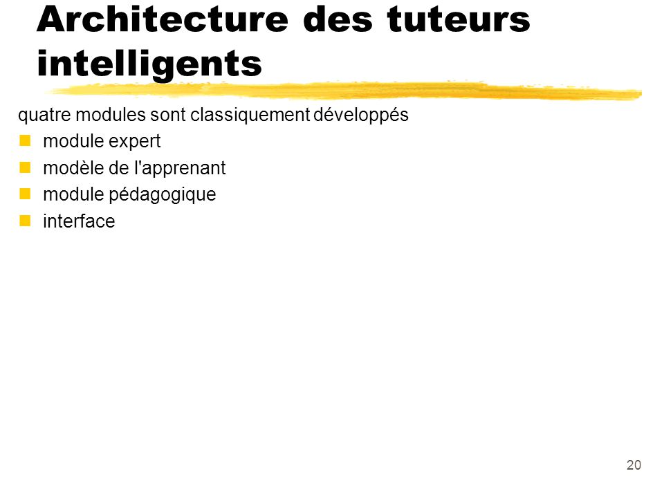 Architecture des tuteurs intelligents