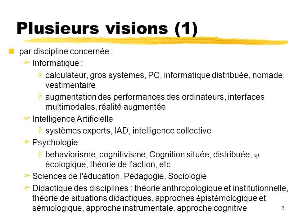 Plusieurs visions (1) par discipline concernée : Informatique :