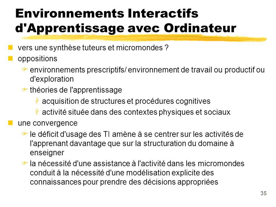 Environnements Interactifs d Apprentissage avec Ordinateur