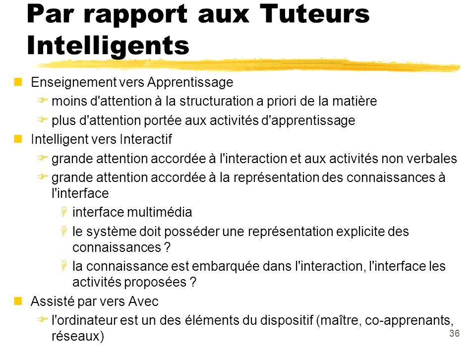Par rapport aux Tuteurs Intelligents
