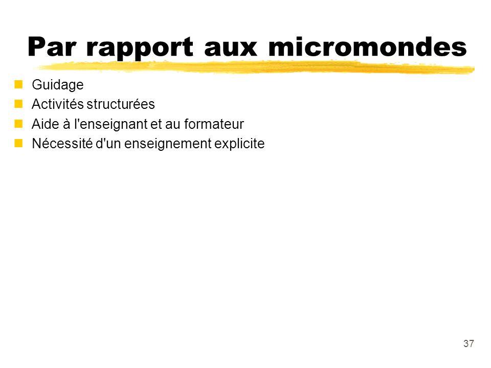 Par rapport aux micromondes