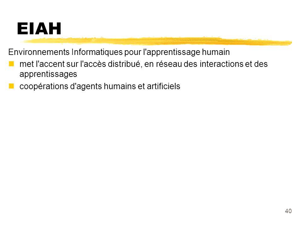 EIAH Environnements Informatiques pour l apprentissage humain
