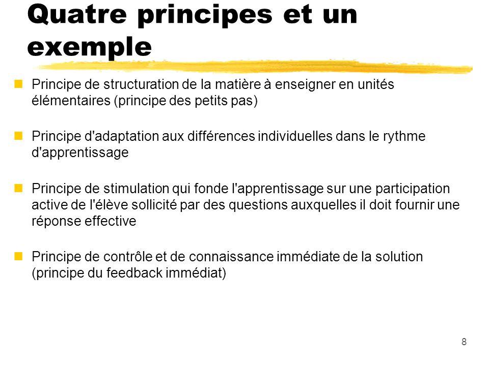 Quatre principes et un exemple