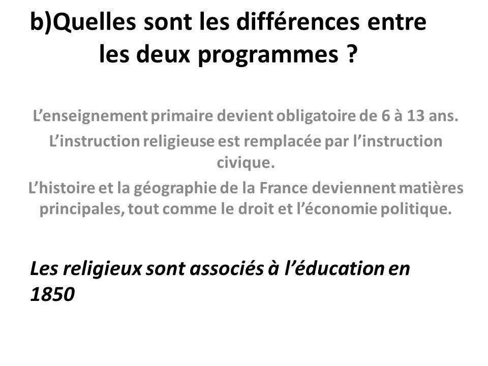b)Quelles sont les différences entre les deux programmes