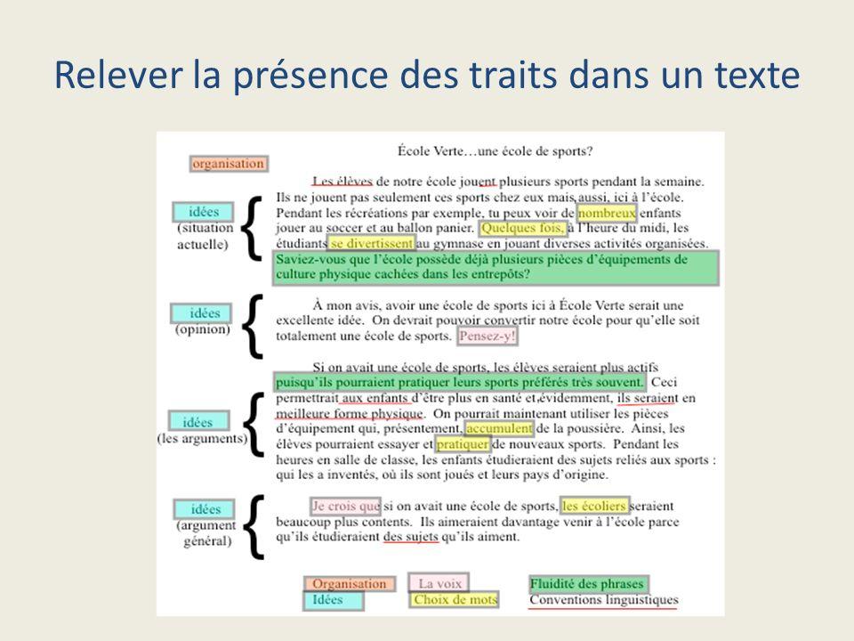 Relever la présence des traits dans un texte