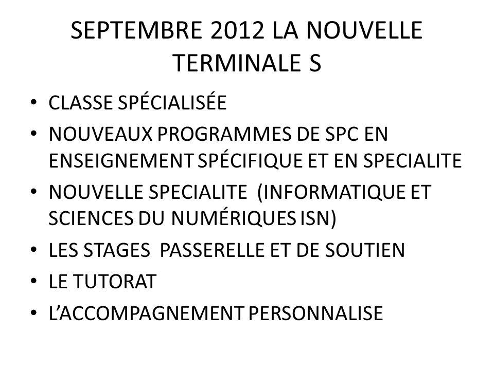 SEPTEMBRE 2012 LA NOUVELLE TERMINALE S