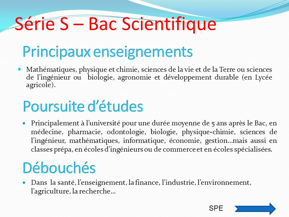 Série S – Bac Scientifique