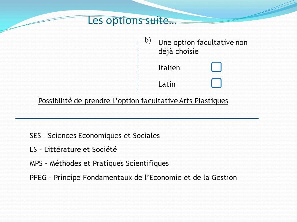 Possibilité de prendre l'option facultative Arts Plastiques